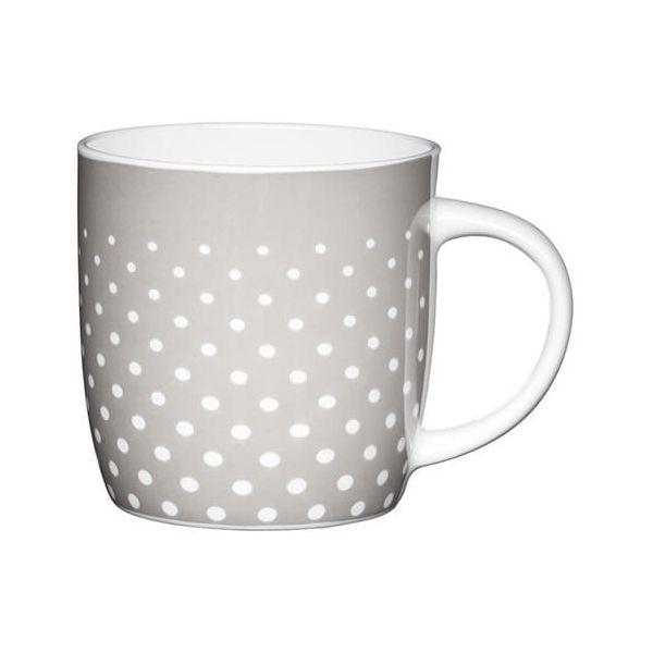KitchenCraft China 425ml Barrel Shaped Mug, Grey Polka