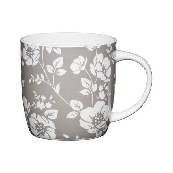 KitchenCraft China 425ml Barrel Shaped Mug, Grey Floral