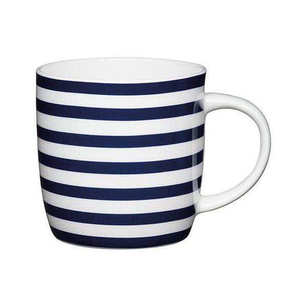 KitchenCraft China 425ml Barrel Shaped Mug, Nautical Stripe