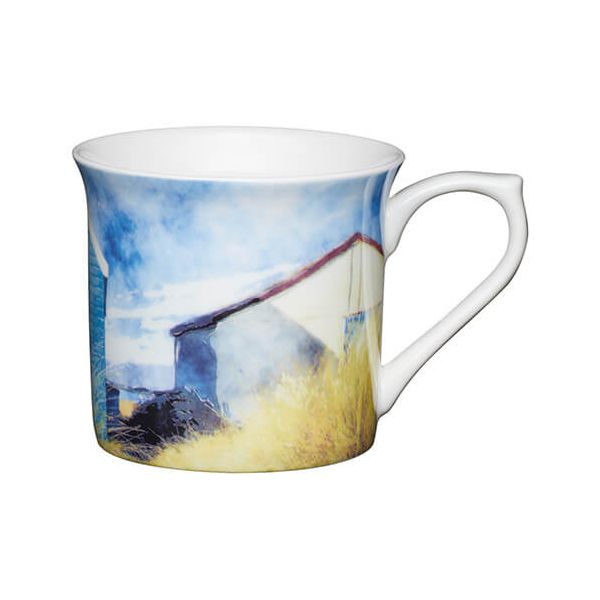 KitchenCraft China 300ml Fluted Mug, Beach Huts