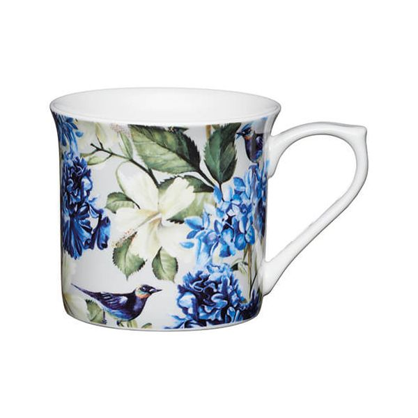 KitchenCraft China 300ml Fluted Mug, Blue Bird