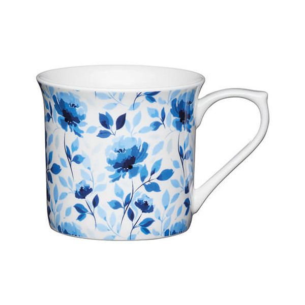 KitchenCraft China 300ml Fluted Mug, Blue Rose