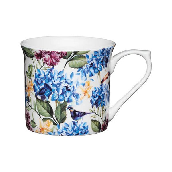 KitchenCraft China 300ml Fluted Mug, Country Floral