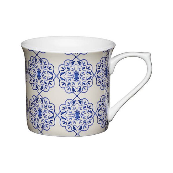 KitchenCraft China 300ml Fluted Mug, Blue Filigree