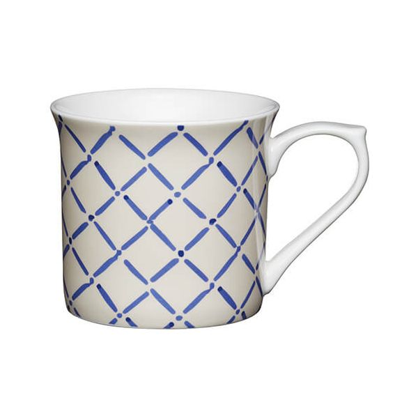 KitchenCraft China 300ml Fluted Mug, Blue Crosshatch