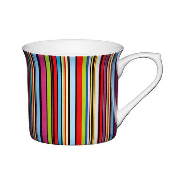 KitchenCraft China 300ml Fluted Mug, Multi Stripe