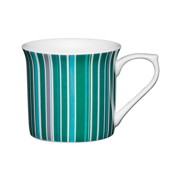 KitchenCraft China 300ml Fluted Mug, Green Stripe
