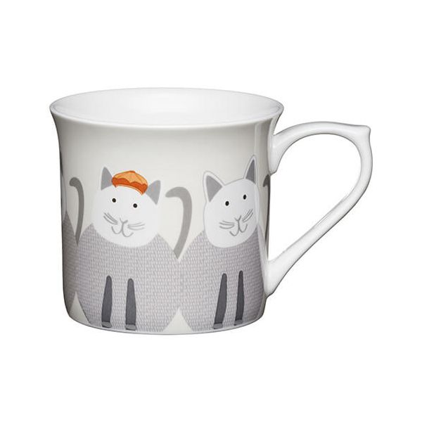 KitchenCraft China 300ml Fluted Mug, Cats