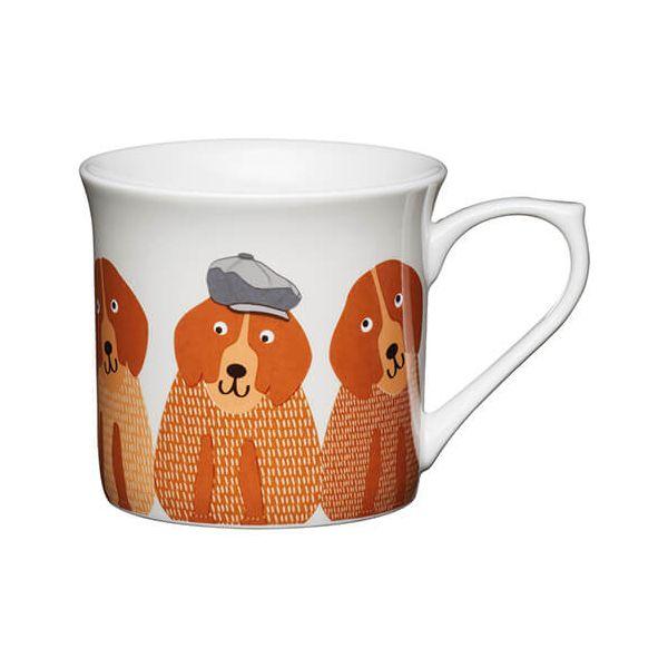 KitchenCraft China 300ml Fluted Mug, Dogs