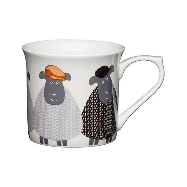 KitchenCraft Fine Bone China 300ml Fluted Mug, Sheep