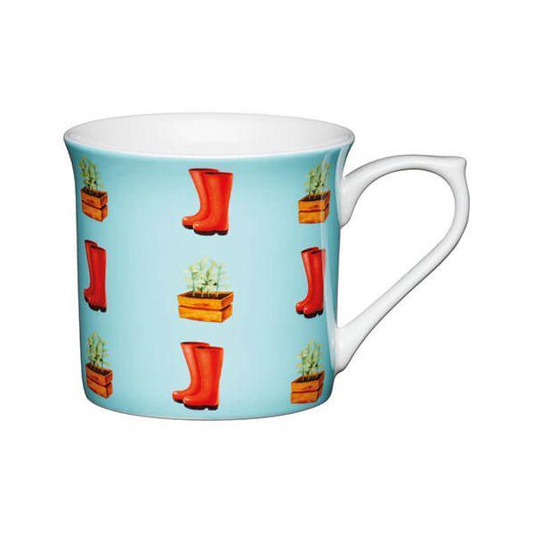 KitchenCraft China 300ml Fluted Mug, Wellies