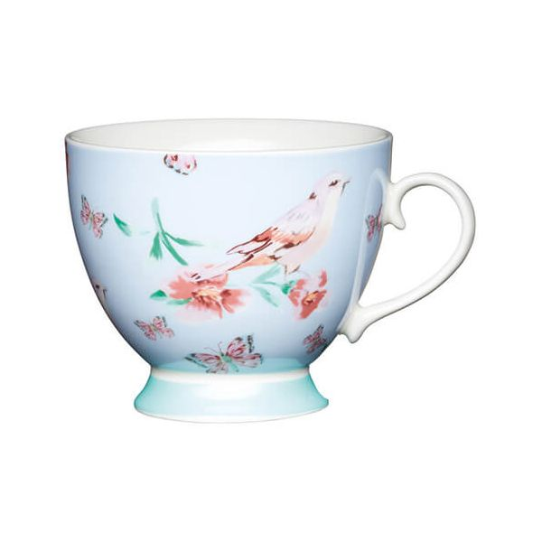 KitchenCraft China 400ml Footed Mug, Blue Birds