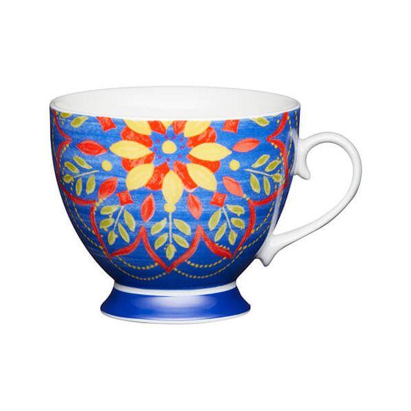 KitchenCraft China 400ml Footed Mug, Moroccan Blue