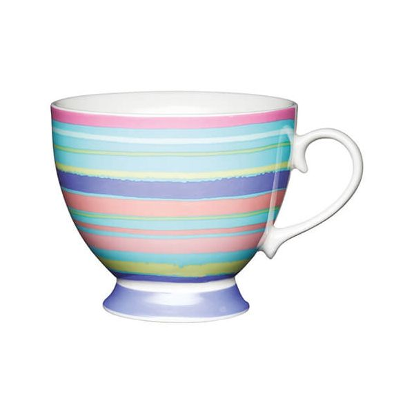 KitchenCraft China 400ml Footed Mug, Bright Stripe