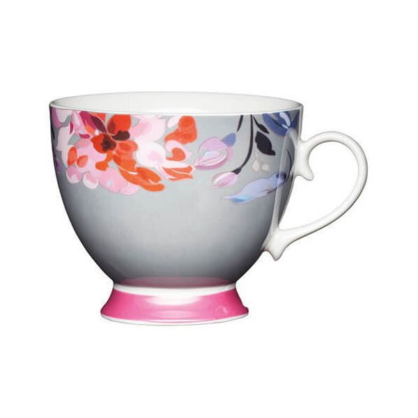 KitchenCraft China 400ml Footed Mug, Floral Border