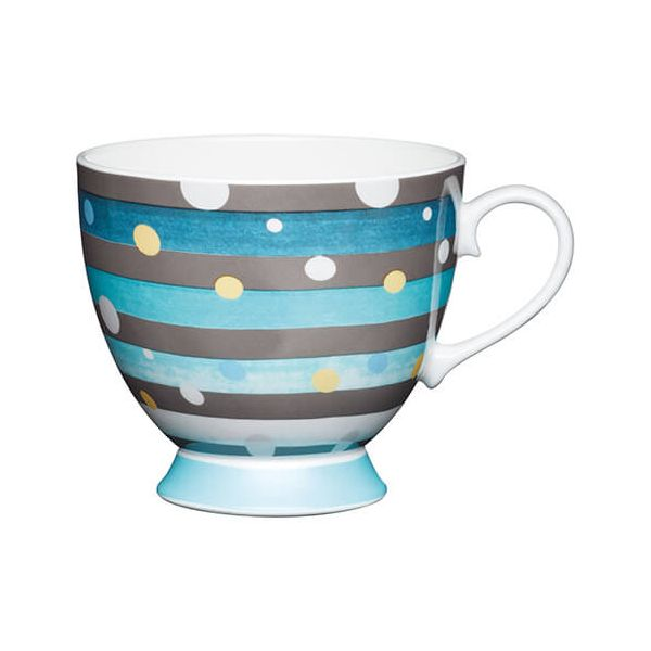 KitchenCraft China 400ml Footed Mug, Spot Stripe