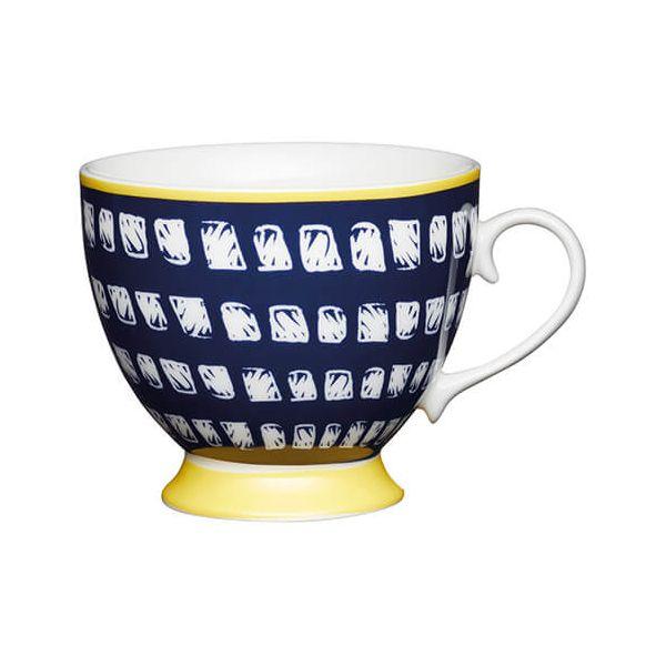KitchenCraft China 400ml Footed Mug, Navy Squares