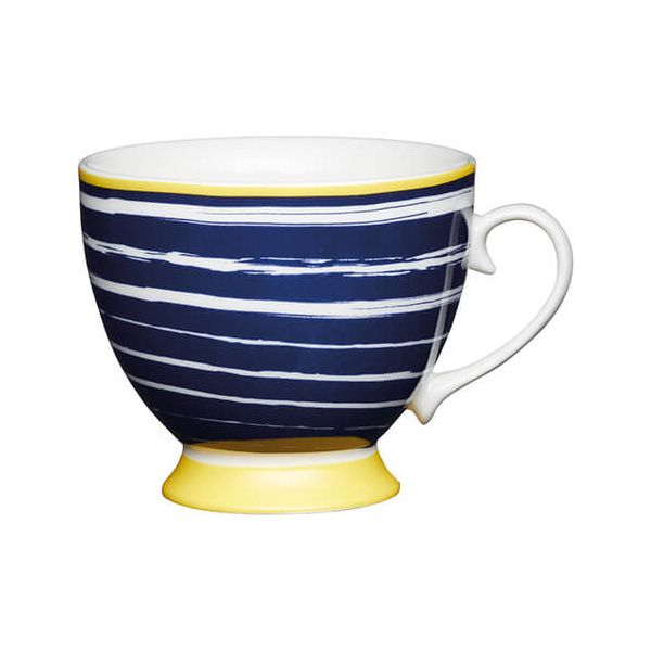 KitchenCraft China 400ml Footed Mug, Navy Stripes