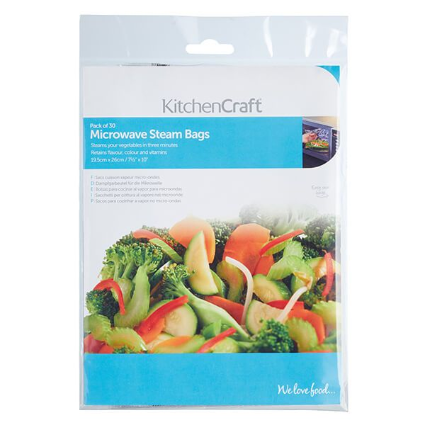 Kitchencraft Pack Of 30 Microwave Steam Bags Kcmsteam30pc