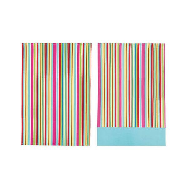 KitchenCraft Multi Stripe Tea Towels 2 Piece Set