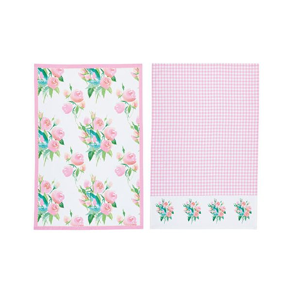 KitchenCraft Rose Tea Towels 2 Piece Set