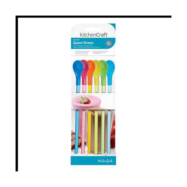 KitchenCraft Spoon Straws 6pc 24cm Plastic