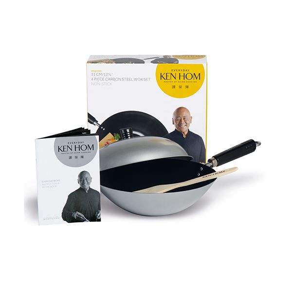 Ken Hom Everyday 31cm Non-Stick Carbon Steel Wok 4 Piece Set