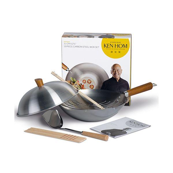 Ken Hom Everyday 31cm Carbon Steel Wok 10 Piece Set