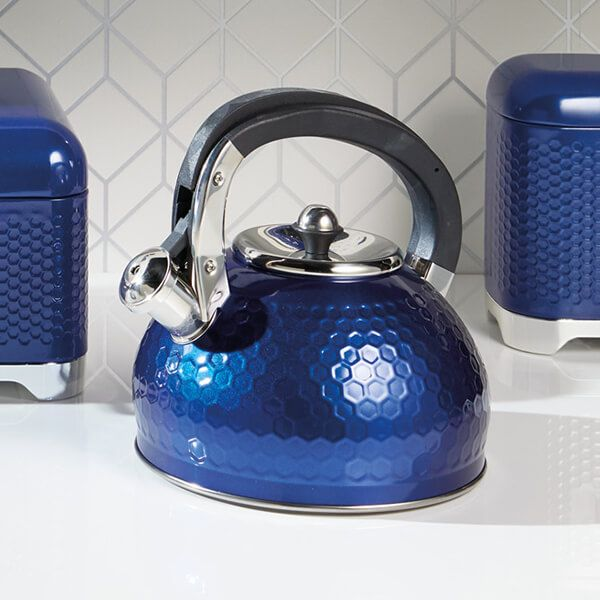 Lovello Retro Midnight Blue Textured 2.5L Whistling Kettle