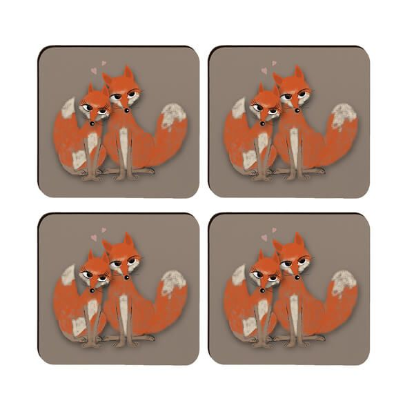 Melamaster Moulded Coaster Pack Of 4 Fox