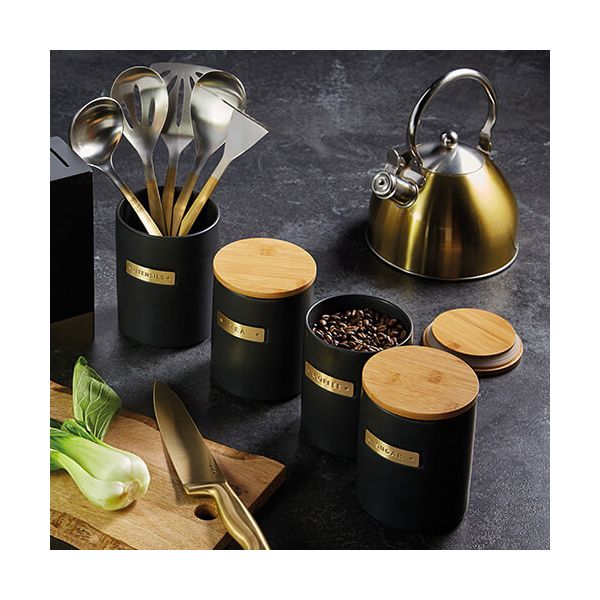 Master Class Black Stoneware Utensil Holder