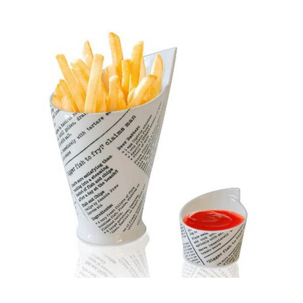 Maxwell & Williams Newsprint French Fries / Chips & Sauce Cups