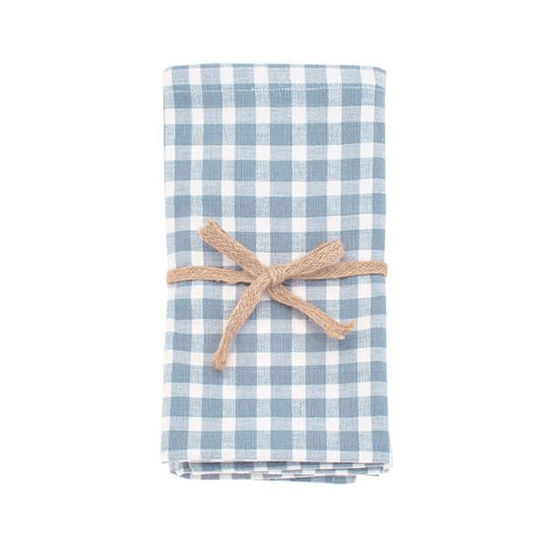 Walton & Co Portland Check Napkin Set Of 4 Blue Cedar