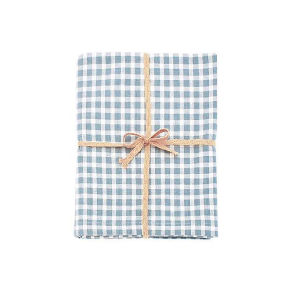 Walton & Co Portland Check Tablecloth Blue Cedar 130x130cm