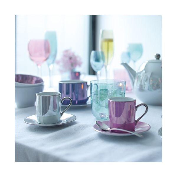 LSA Polka Pastel Coffee Cup & Saucer 100ml Set Of Four