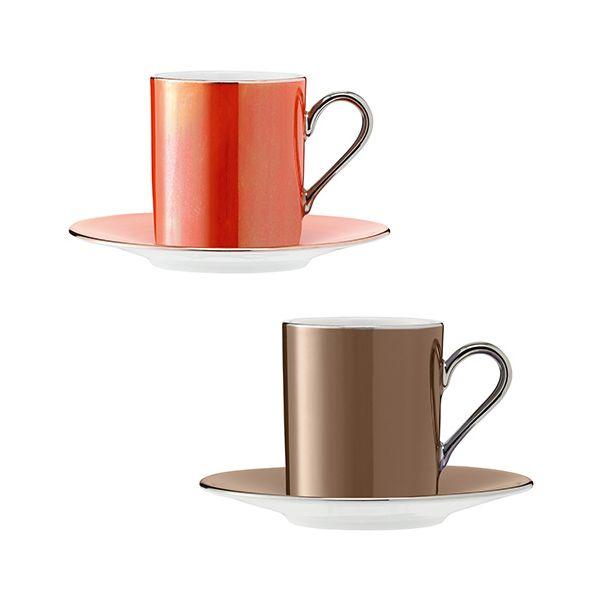 LSA Polka Metallics Coffee Cup & Saucer 100ml Set Of Four