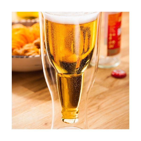 Judge Double Walled 350ml Upside Down Beer Bottle Glass