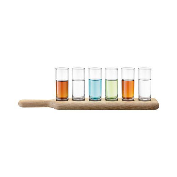 LSA Paddle Vodka Set & Oak Paddle 40cm Clear