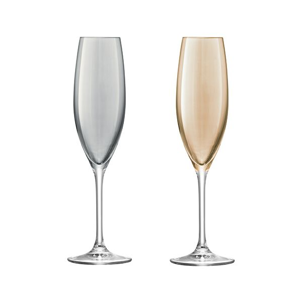 LSA Polka Metallics Champagne Flute 225ml Set Of Four