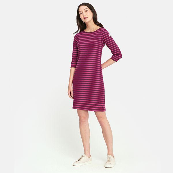 36fe2f84abb Joules Riviera 3/4 Sleeve Striped Dress Plum Stripe | Harts of Stur