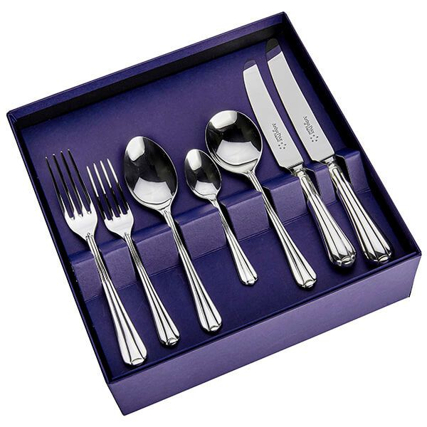 Arthur Price of England Sovereign Silver Plate Royal Pearl 44 Piece Cutlery Box Set