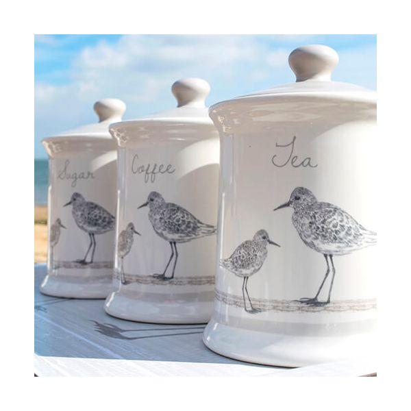 English Tableware Company Sandpiper Tea, Coffee & Sugar Canister 3 Piece Set