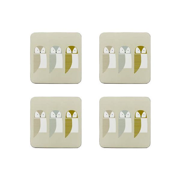 Scion Living Barnie Owl Set Of 4 Coasters
