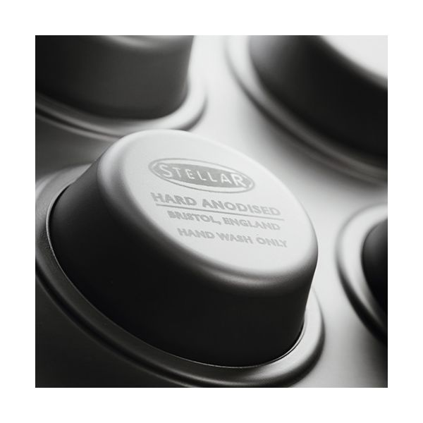 Stellar Hard Anodised 12 Cup Cupcake Muffin Tin