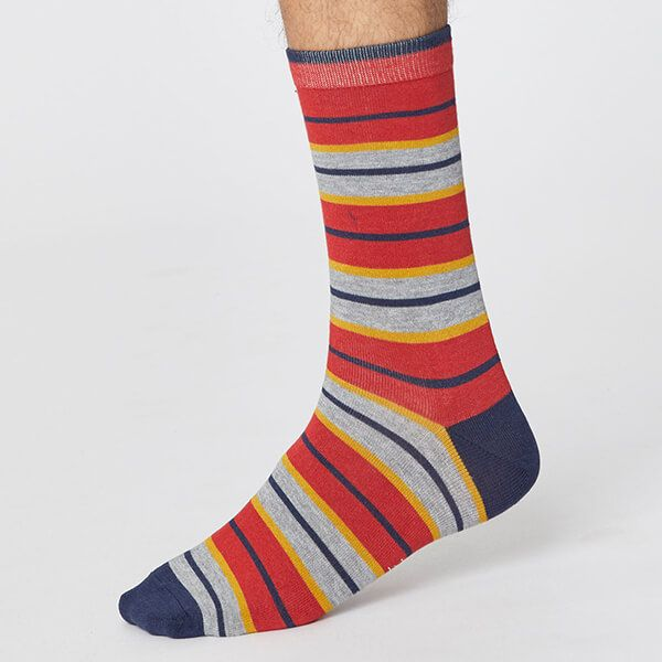 Thought Hibiscus Red Rugby Stripe Socks Size 7-11