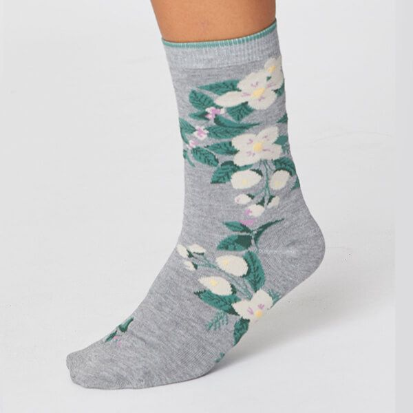 Thought Mid Grey Marle Florie Super Soft Daisy Socks Size 4-7