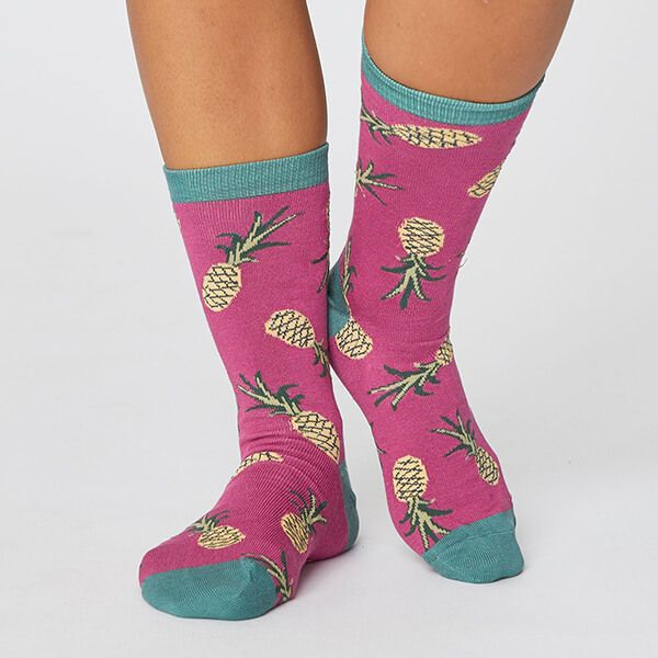Thought Magenta Pink Womens Bamboo Pineapple Socks Size 4-7