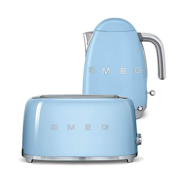 Smeg 4 Slice Toaster And Smeg 3d Logo Kettle Pastel Blue