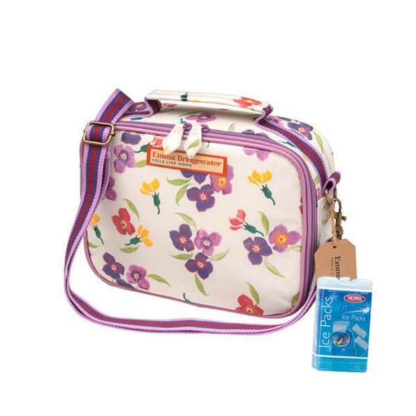 Emma Bridgewater Wallflower PVC Lunch Bag FREE Thermos Set Of Two Ice Packs 200g