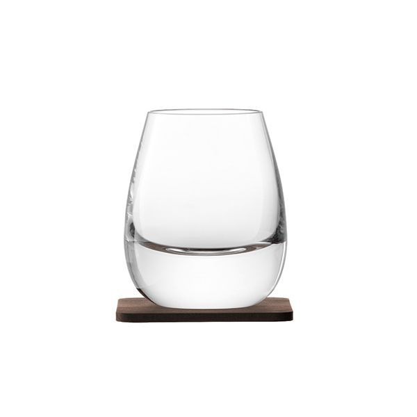 LSA Whisky Islay Tumbler 250ml Clear With Walnut Coaster Set Of 2